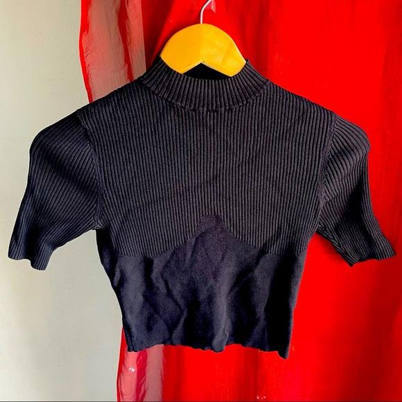 DION LEE (XS) designer ribbed black crop top